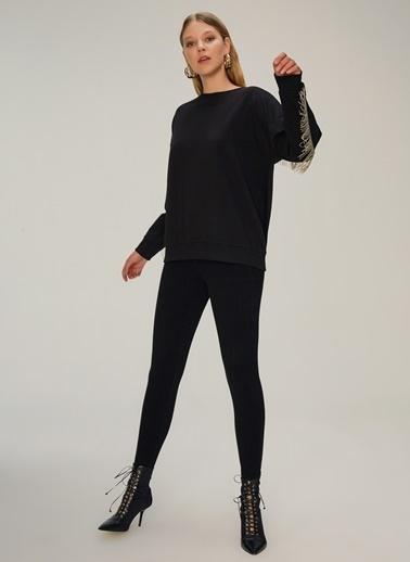 NGSTYLE Metal Püskül Detaylı Sweatshirt Siyah